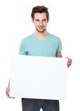 Caucasian man show with white board Stock Photography