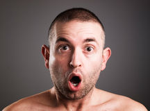 Caucasian man with surprised expression Royalty Free Stock Photography
