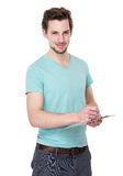 Caucasian man take note on clipboard Royalty Free Stock Images