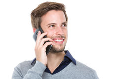 Caucasian man talk to mobile phone. Isolated on white background Royalty Free Stock Images