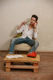 A caucasian man is talking on the phone Royalty Free Stock Image
