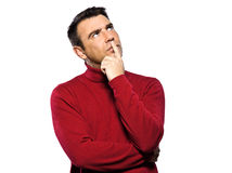Caucasian man thinking pensive Royalty Free Stock Images