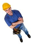 Caucasian man tool. Fine image of isolated standing young manual worker Stock Photos