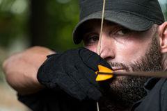 Caucasian Man Training With The Bow Stock Image