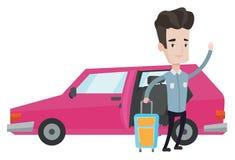 Caucasian man traveling by car vector illustration Stock Photos