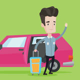 Caucasian man traveling by car vector illustration Royalty Free Stock Photos