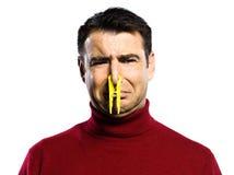 Caucasian man unpleasant. Smell studio portrait on isolated white backgound stock photo