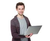 Caucasian man use of laptop Royalty Free Stock Photo