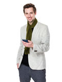 Caucasian man use of mobile phone Stock Photography