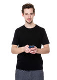 Caucasian man use of smartphone. Isolated on white background Royalty Free Stock Photo