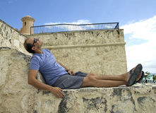 Caucasian man in vacation Stock Images