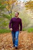Caucasian man walking in the forest Royalty Free Stock Photo