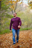 Caucasian man walking in the forest. Caucasian man taking a walk in the forest, autumnal landscape Stock Photography