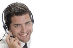 Caucasian man wearing headset Royalty Free Stock Image
