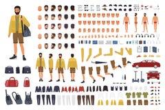 Caucasian mankonstruktör eller DIY-sats Samling av kroppsdelar för manligt tecken, handgester, bekläda som isoleras på vit stock illustrationer
