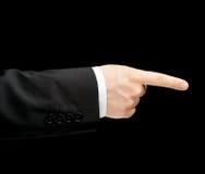 Caucasian manlig hand i en isolerad affärsdräkt Arkivfoton