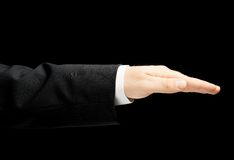 Caucasian manlig hand i en isolerad affärsdräkt Royaltyfri Bild