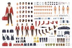 Caucasian manskapelseuppsättning eller DIY-sats Samling av plana kroppsdelar för tecknad filmtecken, ansikts- gester, frisyrer royaltyfri illustrationer