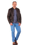 Caucasian mature man posing in leather jacket Royalty Free Stock Image