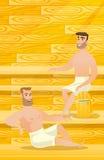 Caucasian men relaxing in sauna. Caucasian men relaxing in a sauna. Relaxed men sitting in a sauna. Happy friends in towels resting in a sauna. Concept of body Stock Photo