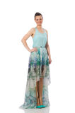Caucasian model in blue floral dress isolated on white Stock Photography