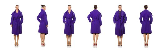 The caucasian model in purple coat isolated on white. Caucasian model in purple coat isolated on white stock photos
