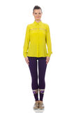 Caucasian model in purple pants and yellow blouse isolated on wh Royalty Free Stock Images