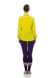 Caucasian model in purple pants and yellow blouse isolated on wh Royalty Free Stock Photo