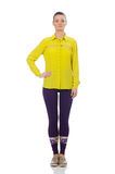 Caucasian model in purple pants and yellow blouse isolated on wh Royalty Free Stock Photography