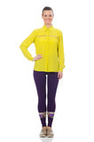 The caucasian model in purple pants and yellow blouse isolated on wh Royalty Free Stock Photo