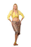 Caucasian model wearing yellow blouse with skirt isolated on whi Royalty Free Stock Photos