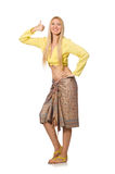 Caucasian model wearing yellow blouse with skirt isolated on whi. Te stock image