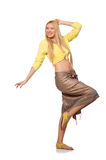 Caucasian model wearing yellow blouse with skirt isolated on whi. Te royalty free stock image