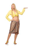 Caucasian model wearing yellow blouse with skirt isolated on whi Royalty Free Stock Images