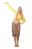 Caucasian model wearing yellow blouse with skirt isolated on whi Royalty Free Stock Photo