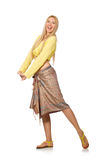 Caucasian model wearing yellow blouse with skirt isolated on whi Royalty Free Stock Photography