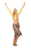 Caucasian model wearing yellow blouse with skirt isolated on whi Stock Images