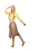 The caucasian model wearing yellow blouse with skirt isolated on whi. Caucasian model wearing yellow blouse with skirt isolated on white royalty free stock images