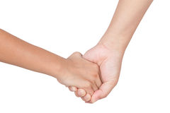 Caucasian mom and daughter hold hand isolated. On white background Stock Images