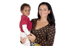 Caucasian mother and african daughter Stock Photos