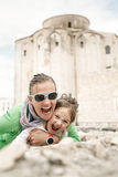 Caucasian mother and daughter hugging, smiling Royalty Free Stock Photo