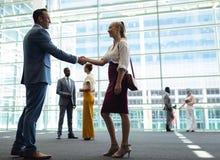 Caucasian olika ledare som skakar händer i modernt kontor royaltyfri bild
