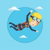 Caucasian parachutist jumping with parachute. Stock Photos