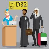 Caucasian passenger with suitcase walking on departures stock illustration