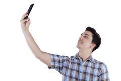 Caucasian person taking self picture Stock Photo