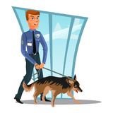 Caucasian Police officer with dog, canine security policeman officer and watchdog, man in uniform holding German. Shepherd, cartoon cop isolated on white vector royalty free illustration