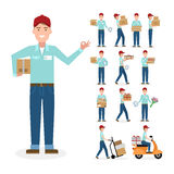 Caucasian postman set. Cartoon character. White background. All delivery equipment Royalty Free Stock Photos