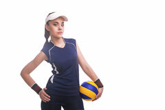 Caucasian Professional Female Volleyball Player Equipped in Voll Stock Image