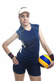 Caucasian Professional Female Volleyball Player Equipped in Voll Royalty Free Stock Photo