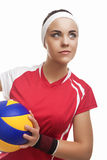 Caucasian Professional Female Volleyball Player Equipped in Voll Stock Images